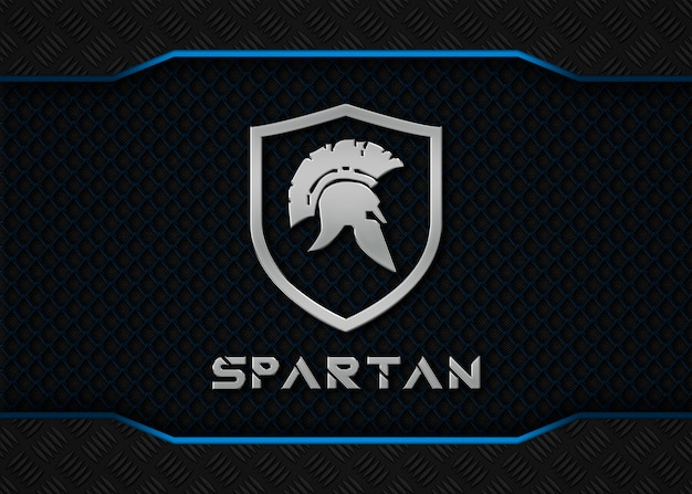 Spartan metal-logo mockup op blauwe metalen achtergrond