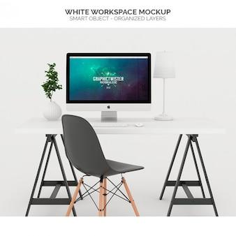 Spazio di lavoro bianco mock up