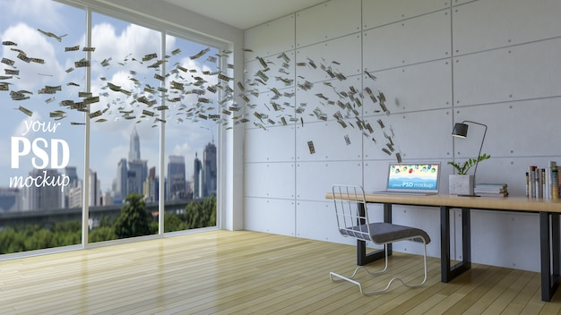 Spazio di lavoro di interior design con mockup del telaio e visualizzazione del mockup