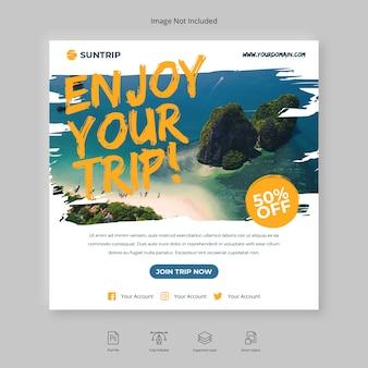 Spazzola dell'aletta di filatoio del quadrato dell'insegna di media sociali dell'insegna di viaggio o di viaggio di instagram post