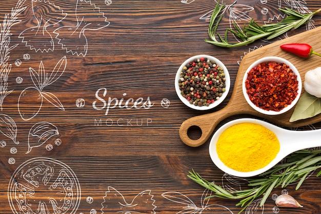 Specerijen doodles omringd door specerijen en kruiden