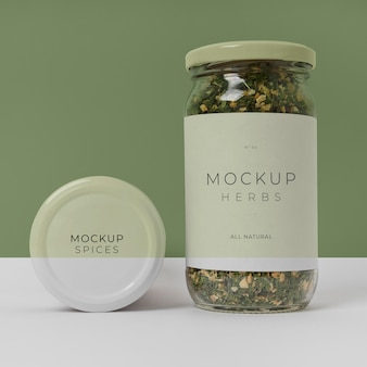 Specerijen met label mock-up arrangement