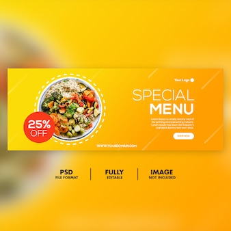 Speciaal menu facebook voorbladsjabloon