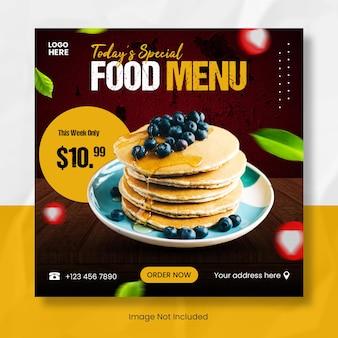 Speciaal menu instagram-postsjabloonbanner