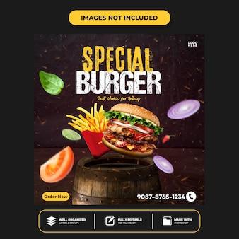 Speciaal menu social media food social media banner post ontwerpsjabloon instagram