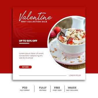 Speciaal valentine-menu voor instagram-verhalen