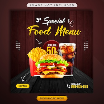 Speciaal voedselmenu of restaurant promotionele spandoeksjabloon