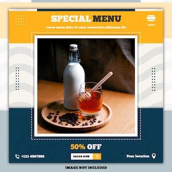 Speciaal voedselmenu sociale media plaatsen bannermalplaatjes