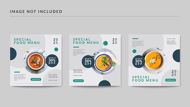 Speciaal voedselmenu sociale media postsjabloon