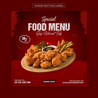Special food menu social media en instagram post banner template design