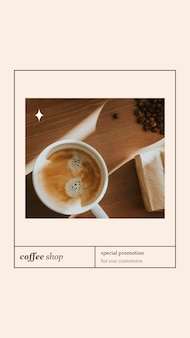 Speciale aanbieding psd-verhaalsjabloon voor bakkerij- en cafémarketing