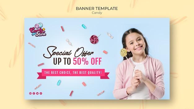 Speciale aanbieding snoepwinkel blauwe banner