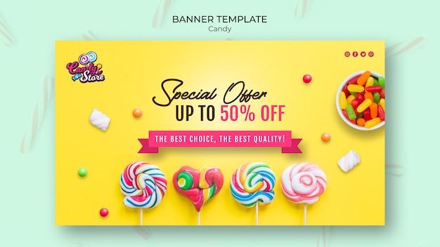 Speciale aanbieding snoepwinkel gele banner
