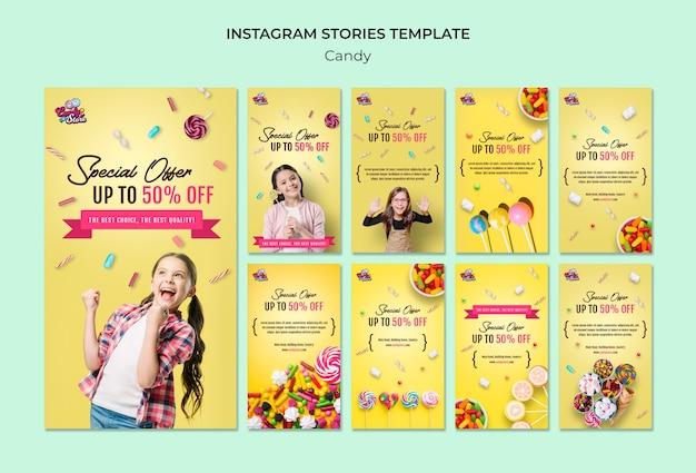 Speciale aanbieding snoepwinkel instagram-verhalen