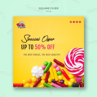 Speciale aanbieding snoepwinkel vierkante flyer