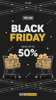 Speciale aanbieding voor black friday-bannersjabloon voor sociale media 50 korting