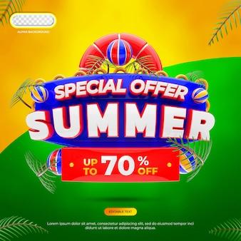 Speciale aanbieding zomer concept 3d render geïsoleerd
