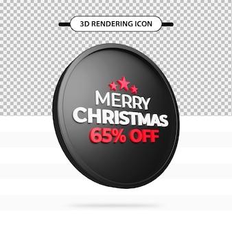 Speciale daymerry christmas-aanbieding 65 procent korting op 3d-renderingpictogram