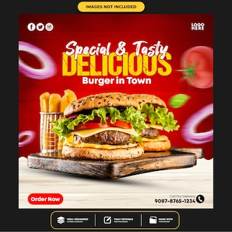 Speciale delicious burger social media banner post-sjabloon