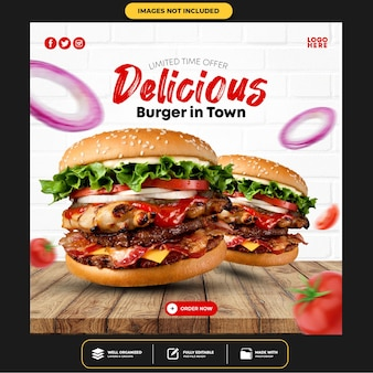 Speciale delicious burger social media banner post-sjabloon