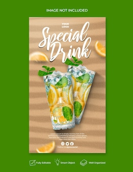Speciale drankmenu-promotie sociale media instagram-verhaalbannersjabloon