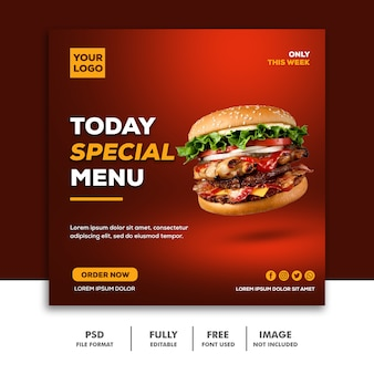 Speciale hamburger eten social media post-sjabloon voor spandoek