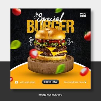 Speciale hamburger instagram postsjabloon banner