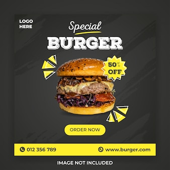 Speciale hamburger social media postsjabloon