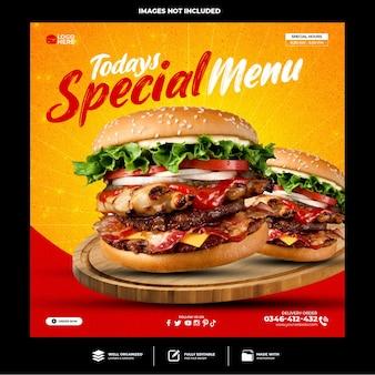 Speciale heerlijke hamburger social media postsjabloon