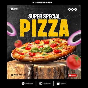 Speciale heerlijke pizza-sjabloon voor sociale media