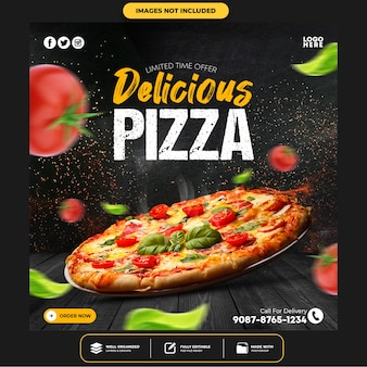 Speciale heerlijke pizza social media post-sjabloon Premium Psd