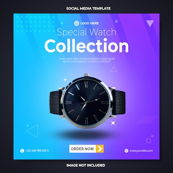 Speciale horloge promotie sociale media sjabloon voor spandoek