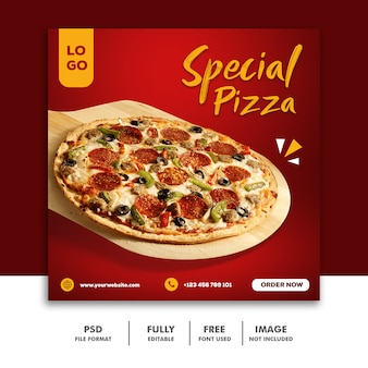 Speciale pizza eten sociale media post-sjabloon voor spandoek