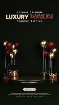 Speciale premium luxe podium met ballon en geschenkdoos