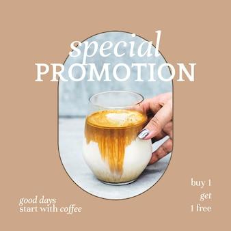 Speciale promotie psd ig postsjabloon voor bakkerij- en cafémarketing