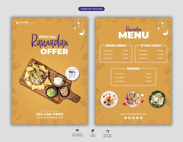 Speciale ramadan food menu flyer psd