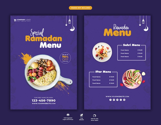 Speciale ramadan food menu flyer psd