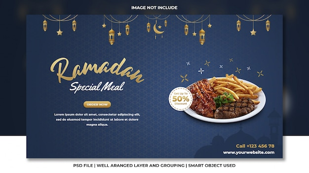 Speciale ramadan maaltijd fastfood barbecue psd-sjabloon