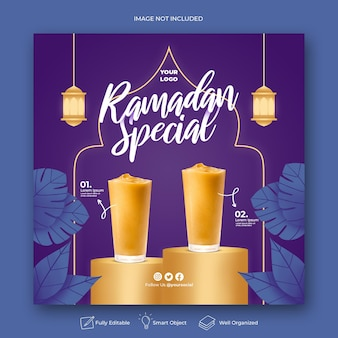 Speciale ramadan menu instagram sociale media sjabloon voor spandoek