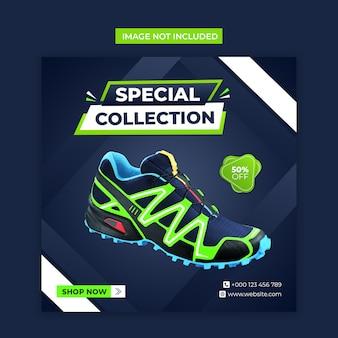 Speciale schoenen sociale media en instagram-postsjabloon