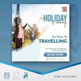 Speciale social media post-sjabloon voor reizen