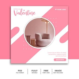 Speciale valentine-meubelverkoop voor post op sociale media