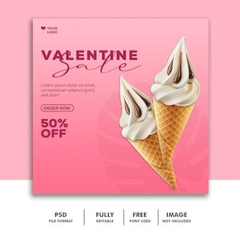 Speciale valentine-verkooppost voor sociale media