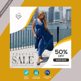 Speciale verkoopsjabloon voor social mediabanners of instagram