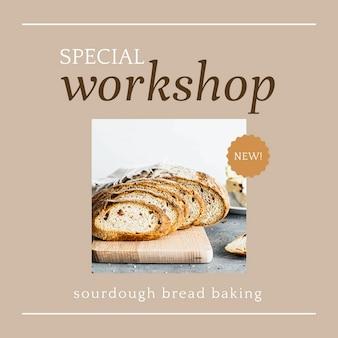 Speciale workshop psd ig post-sjabloon voor bakkerij- en cafémarketing