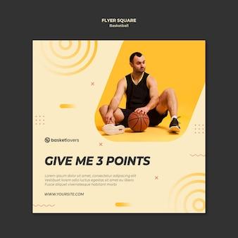 Speel basketbal vierkante flyer-sjabloon