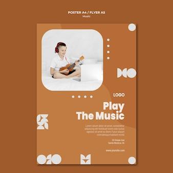 Speel de muziekjongen die ukelele-poster speelt