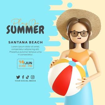 Speel op zomerbanner met 3d-vrouwenkarakter met bal
