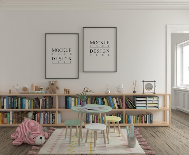 Speelkamer voor kinderen met mockup poster