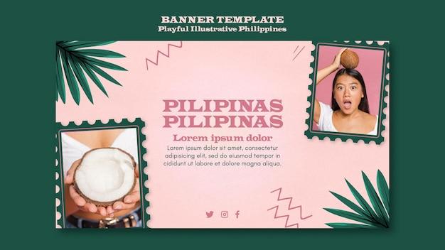 Speels geïllustreerd ontwerp van de banner van de filippijnen